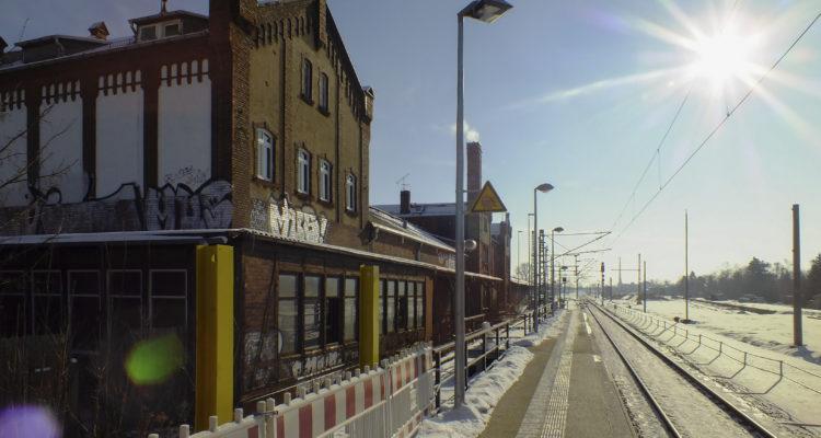 Bahnhofs Plagwitz während der Umbauarbeiten