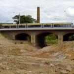 Luisenbrücke bei den Bauarbeiten am Durchstich zum Hafen