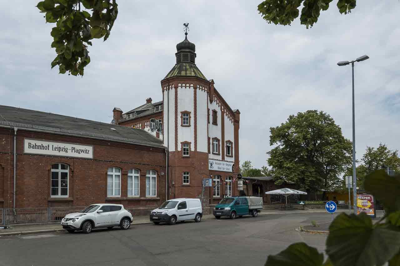 Das Empfangsgebäude des Bahnhofs Leipzig-Plagwitz