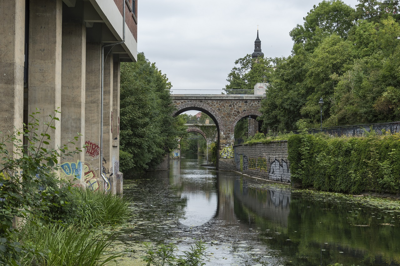 Blick vom Stelzenhaus auf die Weißenfelser Brücke