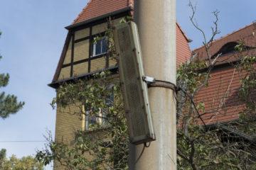 Stadtfunk-Lautsprecher am Straßenbahnhof Leutzsch