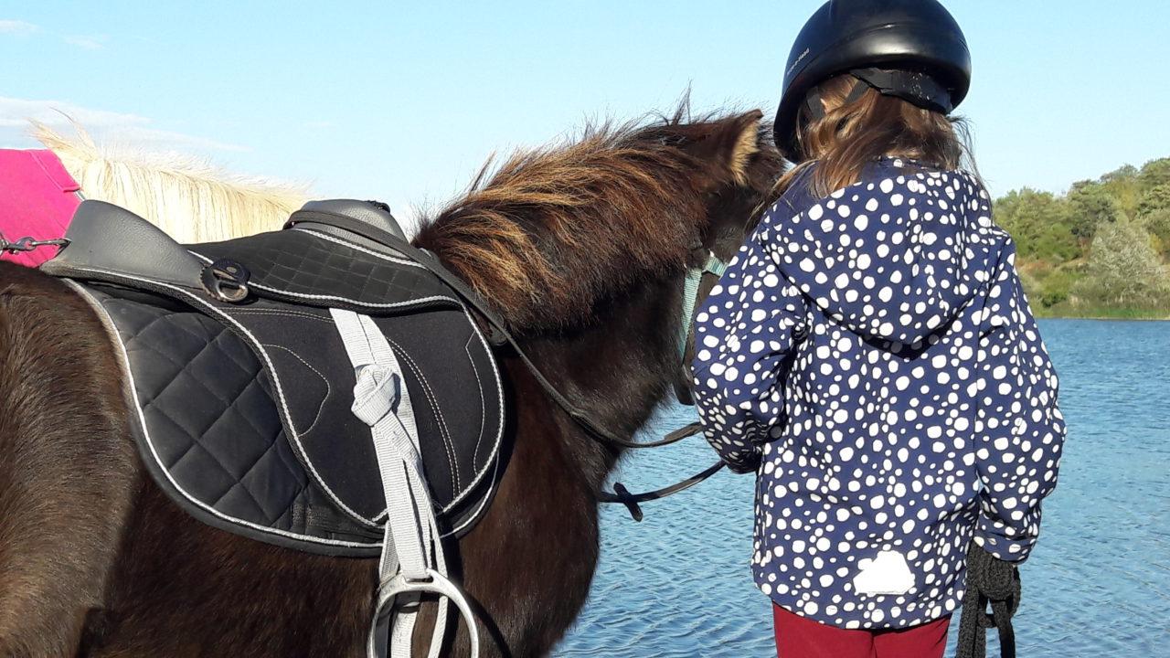 Pony mit Kind am strand